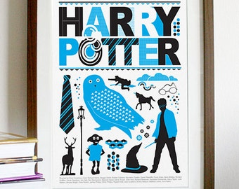 Harry Potter Movie - Blue and Black Print