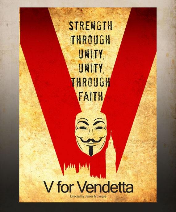 V for Vendetta Movie Poster Vintage Print