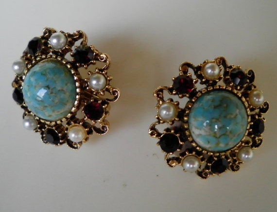 Vintage Signed FLORENZA Faux Turquoise Pearl and Red Ruby Rhinestone Earrings
