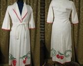 1940s 1950s White Chenille Robe with Cherries- XXS XS Juniors