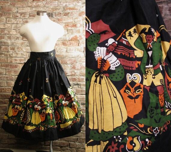 "Reserved ----1950s Vintage Beautiful Bright Hand-made German/Austrian Print Circle Skirt Full Skirt-Waist 24"" X-Small/Small"