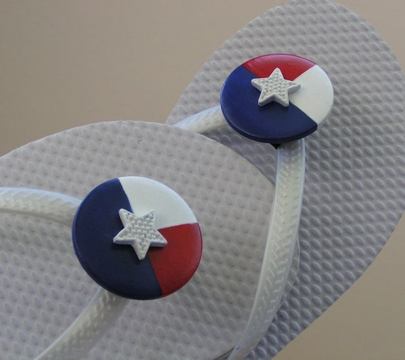 Flip Flop Accessories Removable Accessory FLEXIBLE Shoe Clips for Flip Flops and Sandals Red White & Blue  summer fun gift