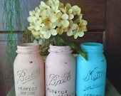 vintage handcrafted COTTAGE shabby JARS vases memento keepers by Lisa Rice SET of 3 peach pink turquoise