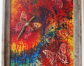 Mariposa Crucifixion - Original Abstract Art - Mixed Media - Framed