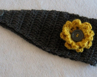 Crocheted Headband Grey and Yellow with Button Closure