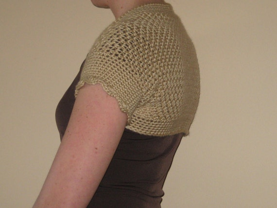 Tan Short Sleeve Shrug/Bolero