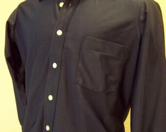 Vintage Mens Slim Fit Navy Dress Shirt by Arrow Long Sleeve
