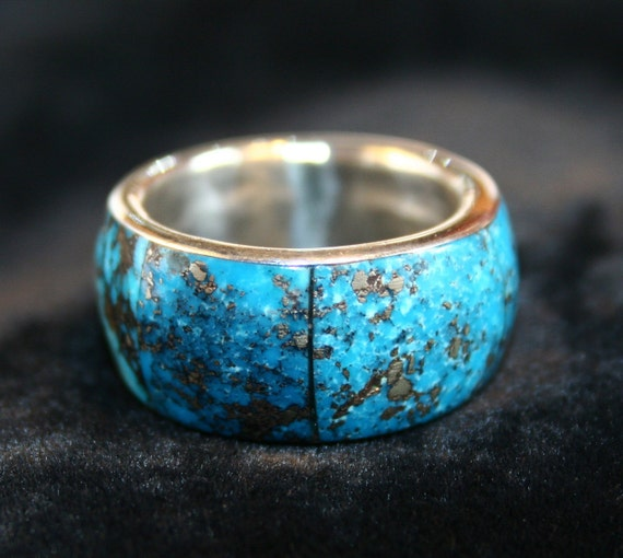 Vintage native american men39s turquoise wedding band for Mens turquoise wedding rings