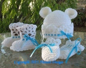 Crochet PATTERN Set -  White Bear Hat, Baby Booties & Baby Thumb-less Mittens - Lace Booties - Baby Boy - Baby Girl - Toddler - Winter Hat