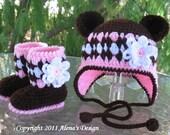 Crocheted  Bear Hat  Set. Sizes 0-6, 6-12, 12-24 months - Baby Girl Toddler  Booties Winter Set Ear Flap Hat Pink Brown Bear Hat