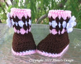 Crochet Pattern 020 - Toddler Booties with Flower  Girls Children Winter Booties Brown Pink Boots Slippers Pattern Christmas
