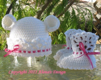 Crochet PATTERN Set - White Bear Hat  & Lace Top Booties - Baby Hat  Children Hat  Baby Booties Baby Boy Baby Girl Toddler Child  Winter Hat