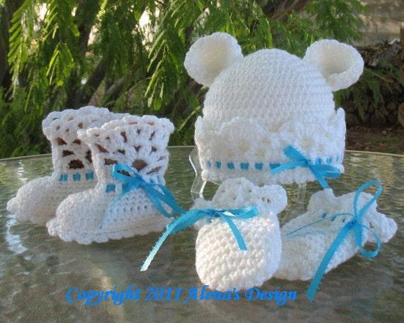 Crochet Baby Bear Booties Pattern : Crochet PATTERN Set White Bear Hat Baby Booties & Baby
