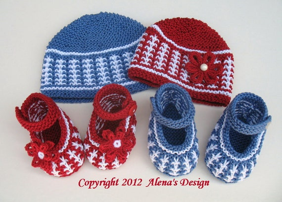 Knitting PATTERN Set - Red/White Set and Blue/White Set - Baby Boy - Baby Girl - Baby Shoes - Toddler Hat - Child Hat - Red Hat - Blue Hat