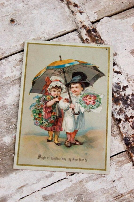 Antique Victorian New Years Greeting Card
