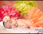 Newborn Infant Baby Girl Tutu with Matching Flower Headband, Peaches N' Cream, Photo Prop, Birth Announcement
