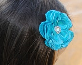 Turquoise Mermaid Flower Hair Clip Turquoise Shimmer Satin Flower Hair Bow Accessory Headband