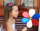 July 4th Hair Bow Red White Blue Flower Hair Clip Girls Hair Flower Singed Flower
