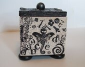 Curious Mixed Media Mosaic Box by IcheeFeet Creations