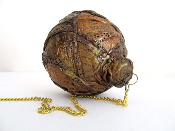 Christmas Ball Steampunk Style Ornament Gold and Bronze