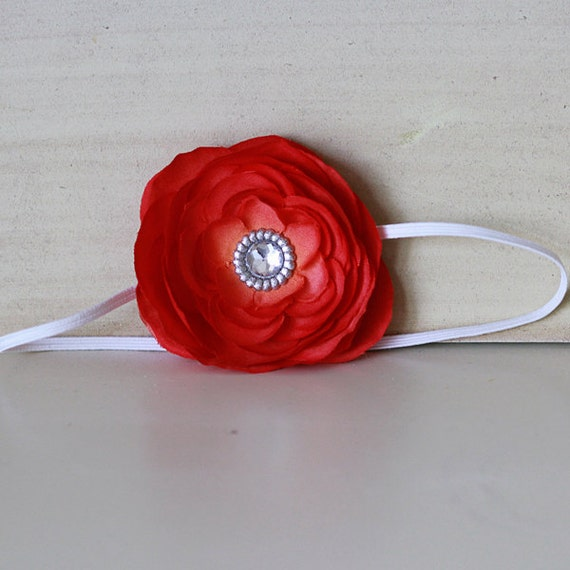 Orange-Red Flower with Rhinestone Center on Thin White Headband for Newborn Baby Girls