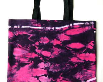 Hot Pink, Black and White Tie Dye Cotton Tote Bag