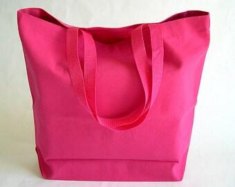 Hot Pink Cotton Duck Fabric Reusable Shopping Bag