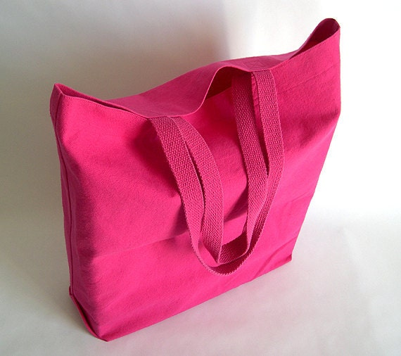 Hot Pink Cotton Duck Canvas Fabric Shopping Bag with Cotton Handles