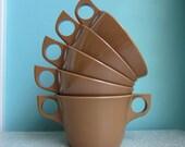 Vintage Brown Melamine Coffee Cups and Sugar Bowl