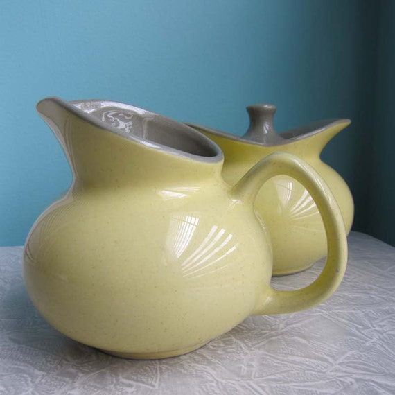 Harker Intaglio Yellow Creamer and Sugar Set Mid Century Modern