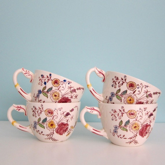 Vernon Kilns Chintz Coffee Cups Teacups Set of 4