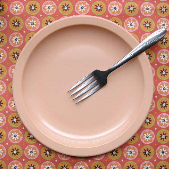 Vintage Peach Texas Ware Melamine Salad Dessert Plates Set of 6