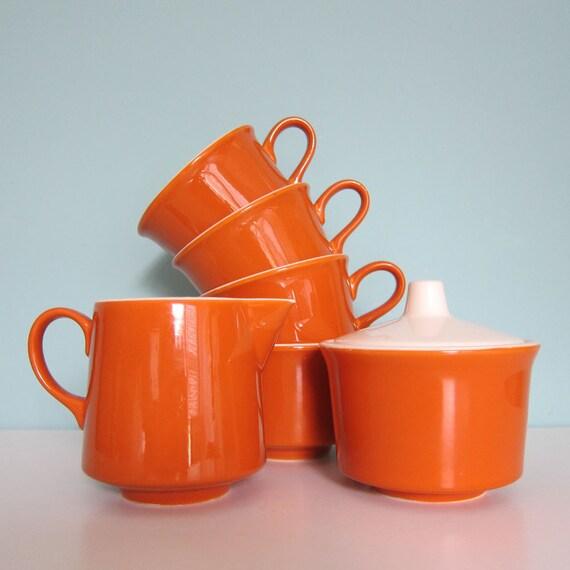 Burnt Orange Coffee Service - Cups - Sugar & Creamer -