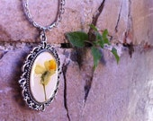 Wild Pansy Floral Pendant - Cameo - Yellow Flower Necklace