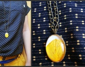Yellow broom petal pendant - dried flower long necklace