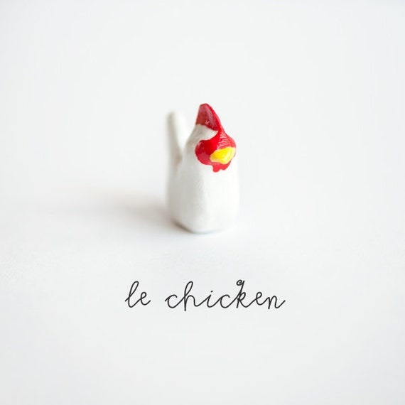 Animal Totem - Le Mighty Chicken, OOAK Tiny Animalé Sculpture