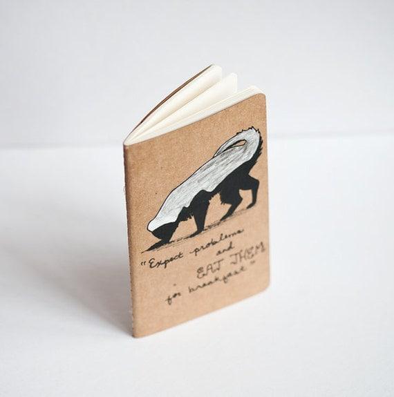 RESERVED Honey Badger Notebook - Hand Painted Moleskine Journal