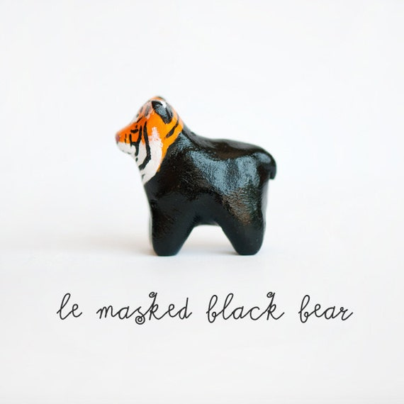 Halloween Figurine, Le Black Bear Trick or Treat Totem, OOAK