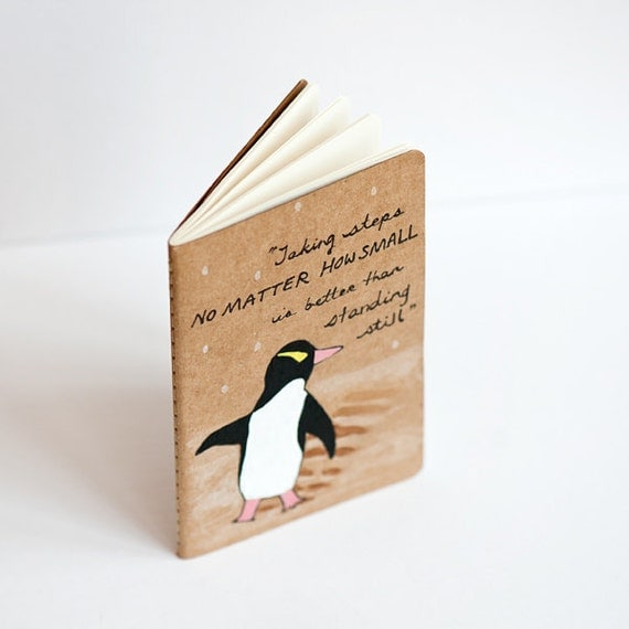 "Penguin Notebook, Hand Painted Moleskine ""le penguin"" Notebook"