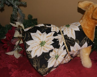 Dog Dress, Christmas Dog Dress, Couture Pet Clothing, Poinsettia Dress