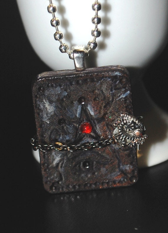 Book of Shadows wood pendant and necklace   NIGHTMARETEAM
