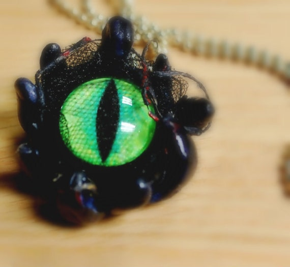 Tenticle eye pendant polymer clay gothic eye pendant with choice of chain