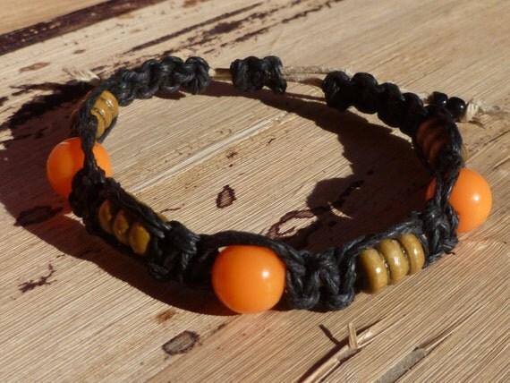 Black and Orange Macrame Hemp Bracelet - Halloween / Autumn Jewelry