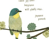 Bird Print - greens - Inspirational Japanese Proverb