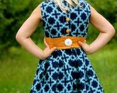 Retro-Modern Party Dress - blue and orange dress with removable cumberbund by dapperdills