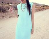 60s 70s Aqua Sky Blue Diamond Pattern Long Maxi Shift Dress - Teal Leoni