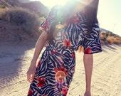 Blue Navy Zebra Print Red Hawaiian Floral Midi Dress - Zeeeebra