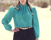 Emerald Green Tulip Neck Long Sleeve Pleated Floral Blouse - Emmy