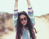 Pastel Striped Ribbed Knit Spring Lightweight Pullover Sweater - Piper