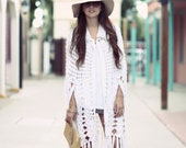White Crochet Knit Fringe Collared Cape Poncho - Joan